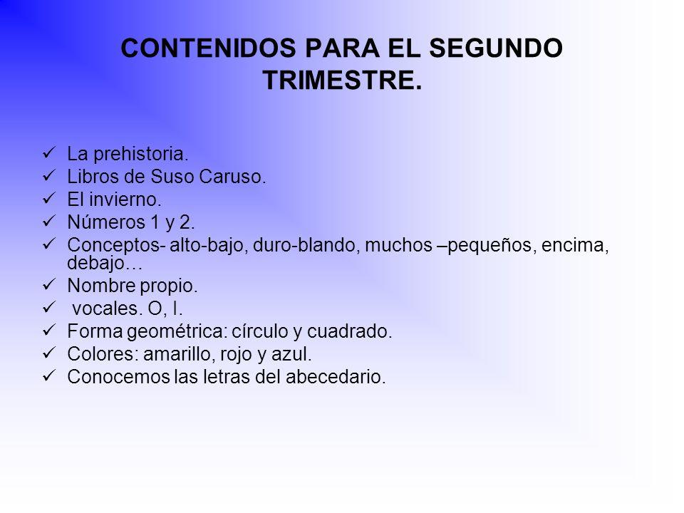 CONTENIDOS PARA EL SEGUNDO TRIMESTRE.