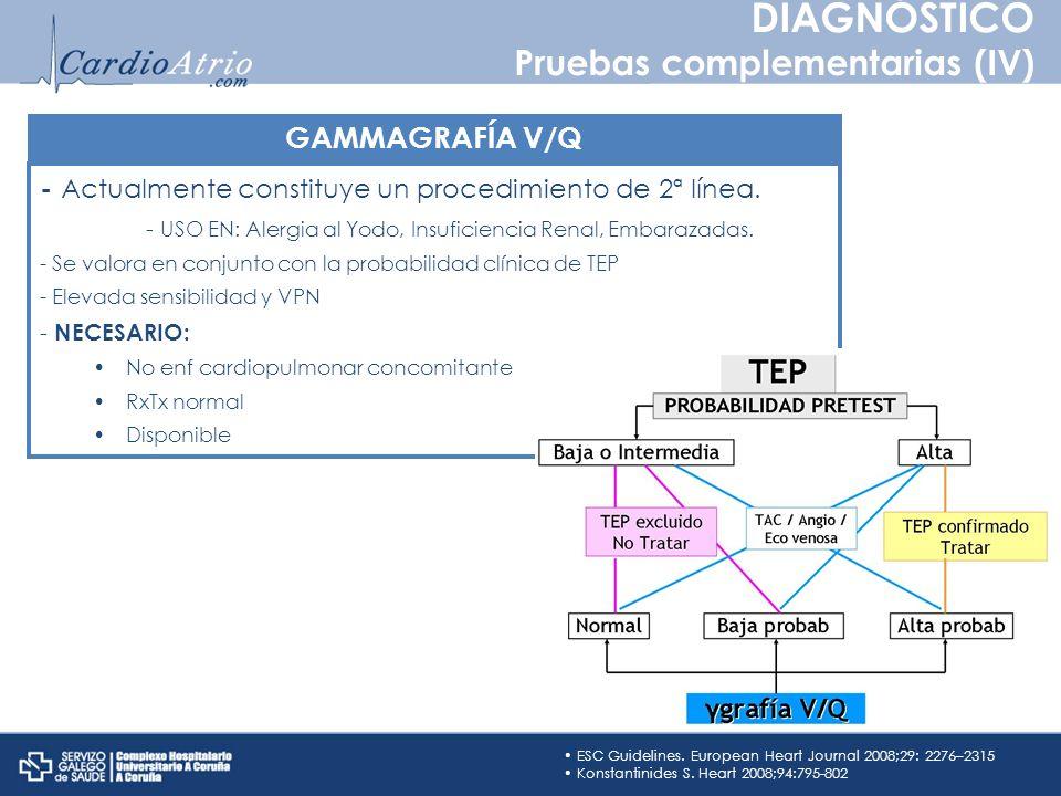 DIAGNÓSTICO Pruebas complementarias (IV) GAMMAGRAFÍA V/Q