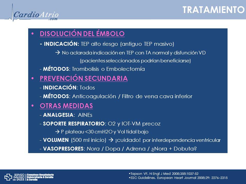 TRATAMIENTO DISOLUCIÓN DEL ÉMBOLO PREVENCIÓN SECUNDARIA OTRAS MEDIDAS