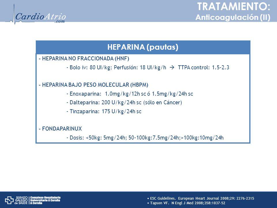 TRATAMIENTO: Anticoagulación (II) HEPARINA (pautas)