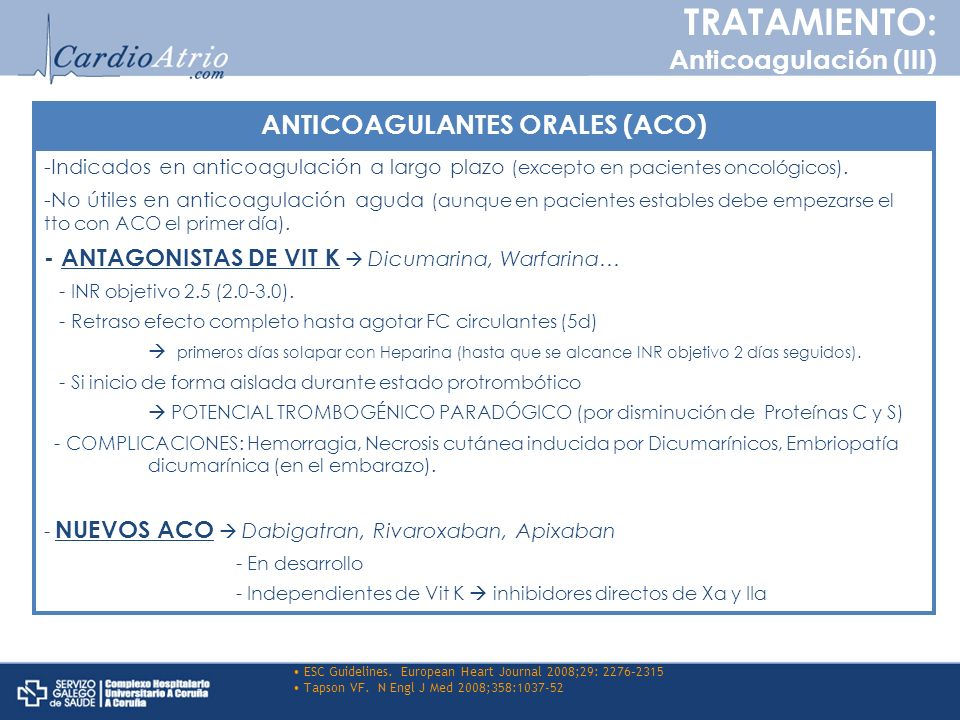 ANTICOAGULANTES ORALES (ACO)