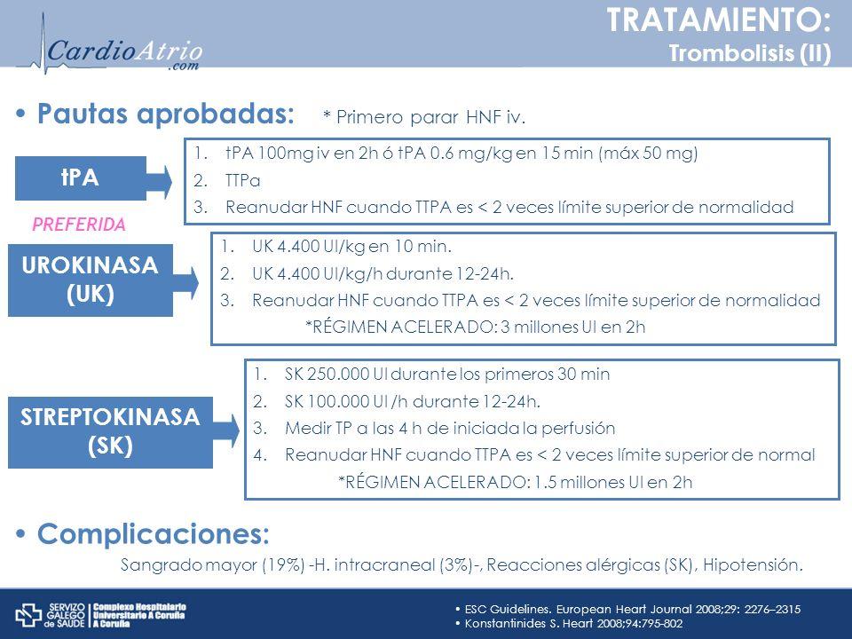 TRATAMIENTO: Pautas aprobadas: Complicaciones: Trombolisis (II) tPA