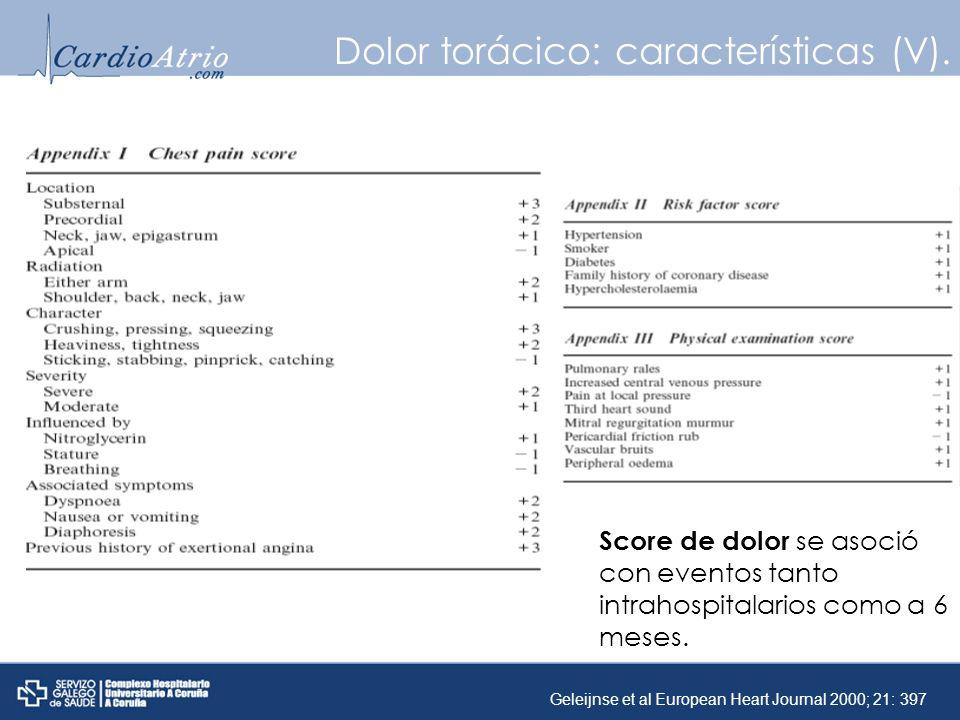 Dolor torácico: características (V).