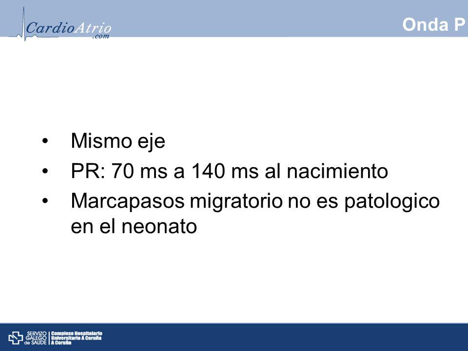 PR: 70 ms a 140 ms al nacimiento