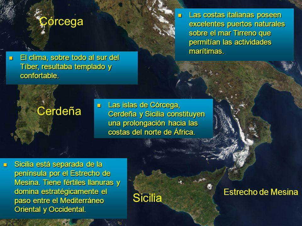 Córcega Cerdeña Sicilia África Estrecho de Mesina