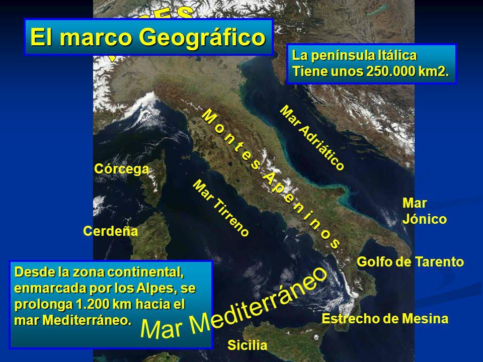 El marco Geográfico ALPES Mar Mediterráneo M o n t e s A p e n i n o s