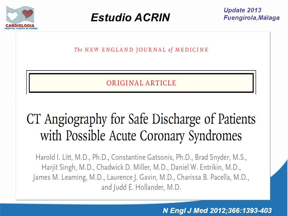 Estudio ACRIN N Engl J Med 2012;366:1393-403. Update 2013