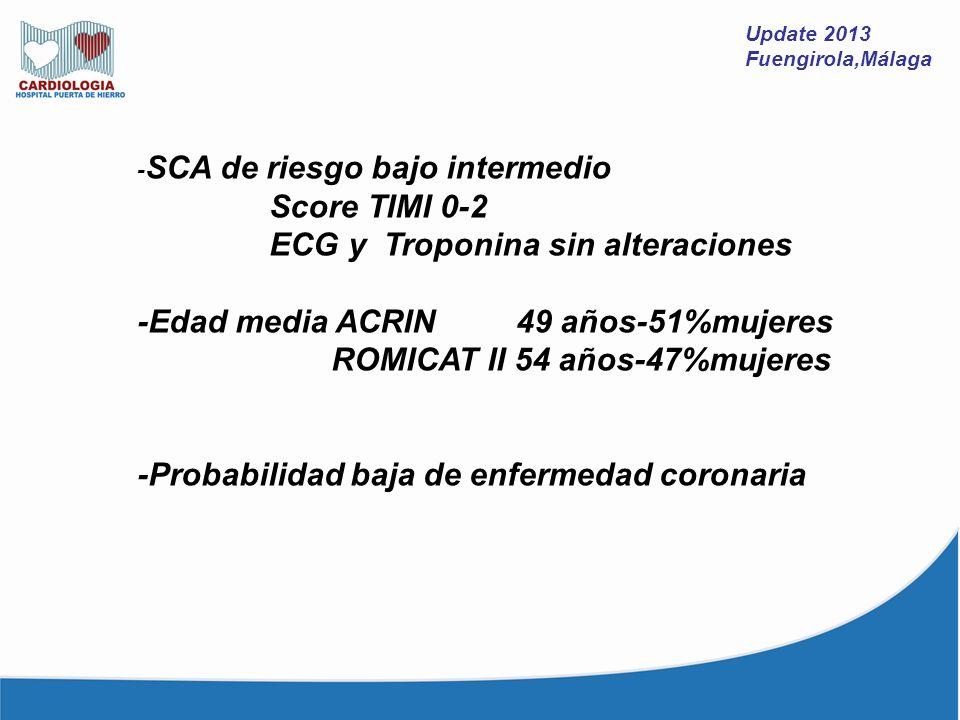 ECG y Troponina sin alteraciones -Edad media ACRIN 49 años-51%mujeres