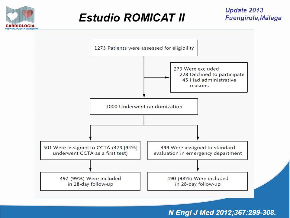 Estudio ROMICAT II N Engl J Med 2012;367:299-308. Update 2013