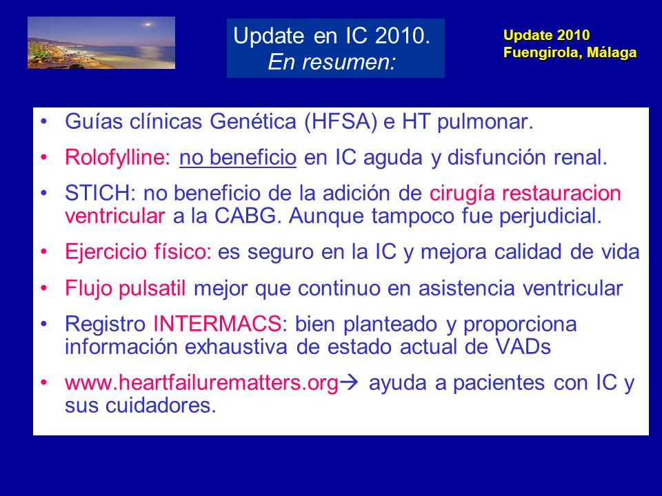 Update en IC 2010. En resumen: