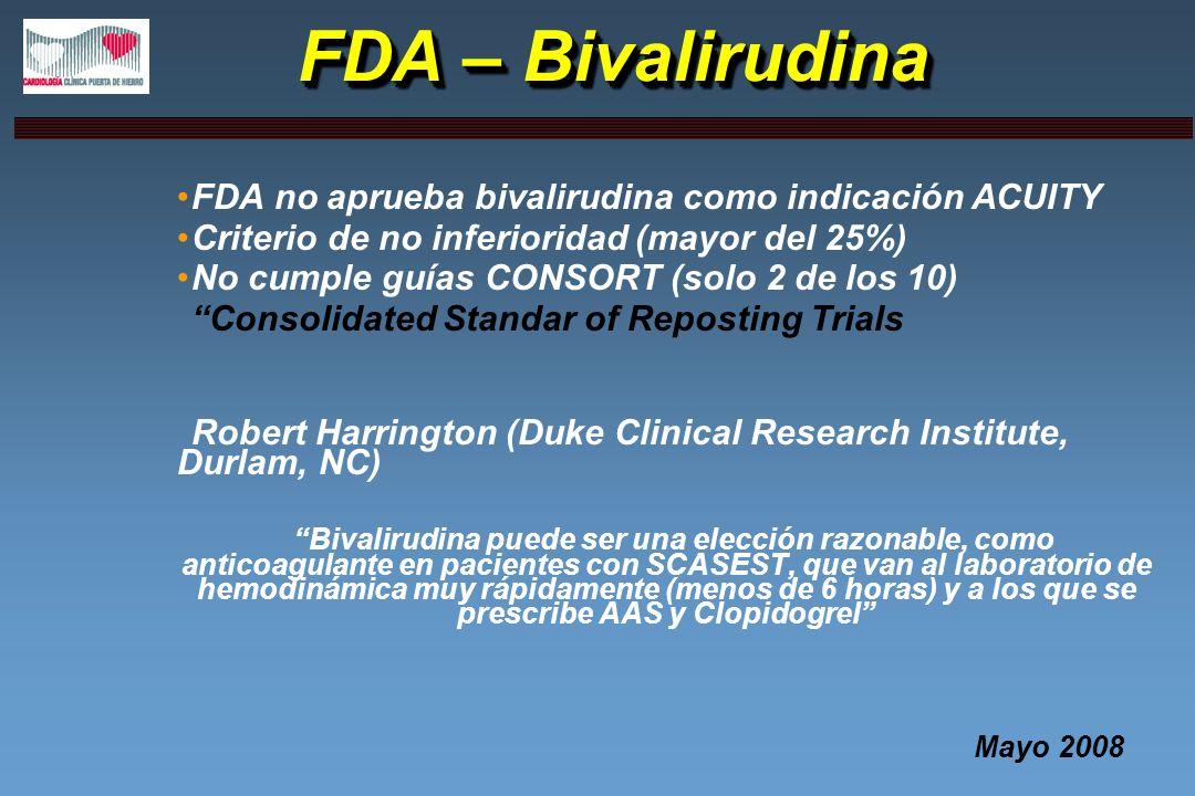 FDA – Bivalirudina FDA no aprueba bivalirudina como indicación ACUITY