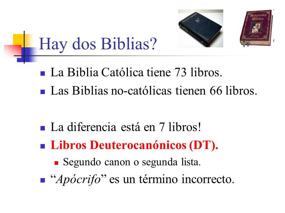Hay dos Biblias La Biblia Católica tiene 73 libros.