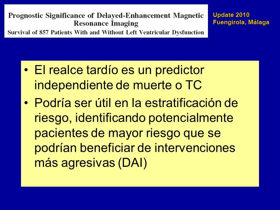 El realce tardío es un predictor independiente de muerte o TC