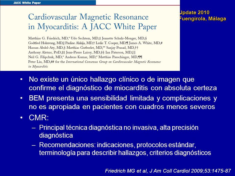 No existe un único hallazgo clínico o de imagen que confirme el diagnóstico de miocarditis con absoluta certeza