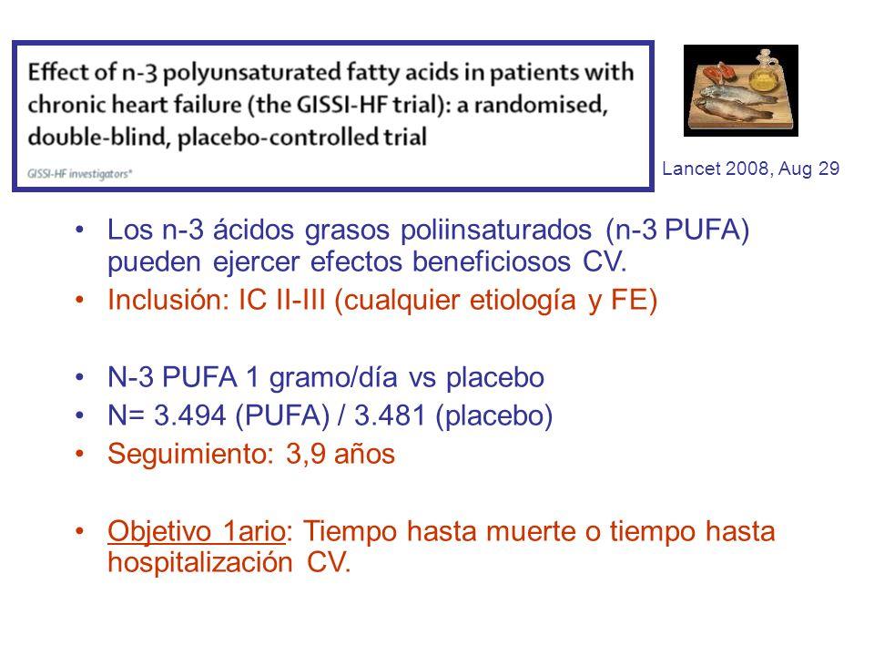 Inclusión: IC II-III (cualquier etiología y FE)
