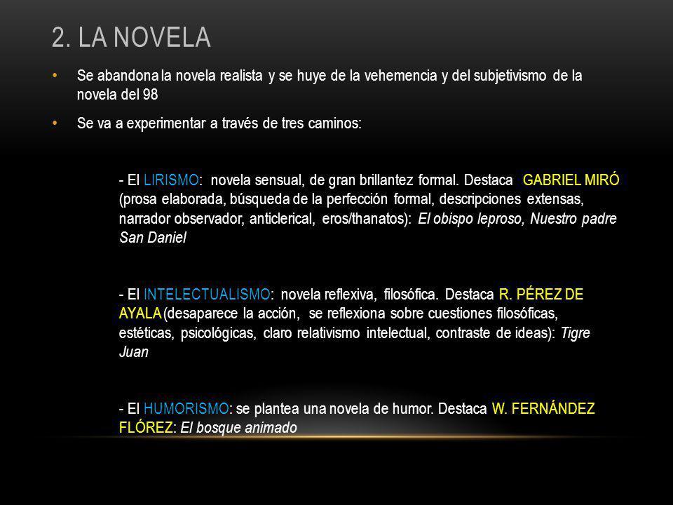 2. La NOvela Se abandona la novela realista y se huye de la vehemencia y del subjetivismo de la novela del 98.