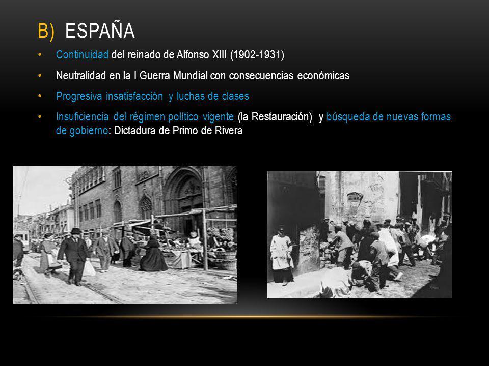 B) España Continuidad del reinado de Alfonso XIII (1902-1931)