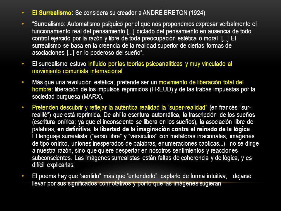 El Surrealismo: Se considera su creador a ANDRÉ BRETON (1924)