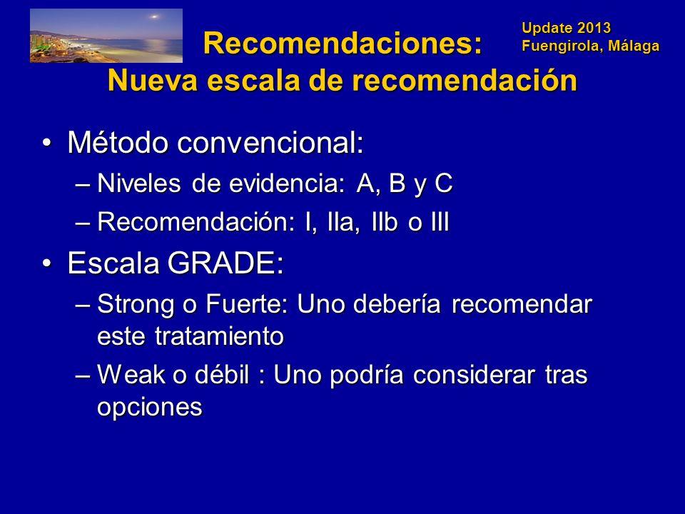 Recomendaciones: Nueva escala de recomendación