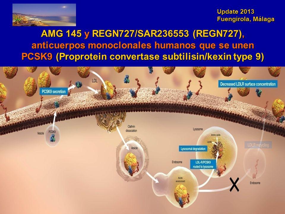 AMG 145 y REGN727/SAR236553 (REGN727), anticuerpos monoclonales humanos que se unen PCSK9 (Proprotein convertase subtilisin/kexin type 9)