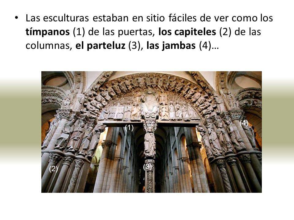 Las esculturas estaban en sitio fáciles de ver como los tímpanos (1) de las puertas, los capiteles (2) de las columnas, el parteluz (3), las jambas (4)…