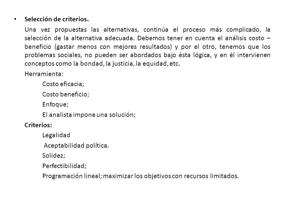 Selección de criterios.