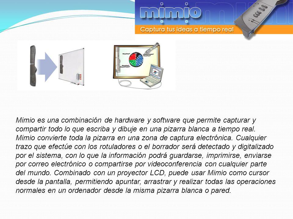 Mimio es una combinación de hardware y software que permite capturar y compartir todo lo que escriba y dibuje en una pizarra blanca a tiempo real. Mimio convierte toda la pizarra en una zona de captura electrónica. Cualquier trazo que efectúe con los rotuladores o el borrador será detectado y digitalizado por el sistema, con lo que la información podrá guardarse, imprimirse, enviarse por correo electrónico o compartirse por videoconferencia con cualquier parte del mundo. Combinado con un proyector LCD, puede usar Mimio como cursor desde la pantalla, permitiendo apuntar, arrastrar y realizar todas las operaciones normales en un ordenador desde la misma pizarra blanca o pared.