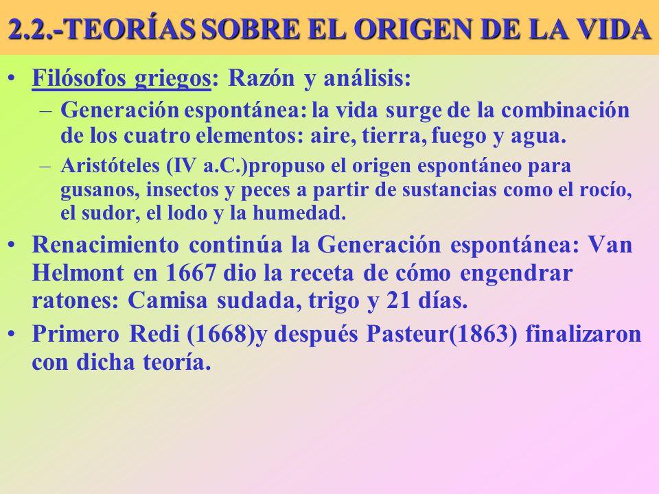 2.2.-TEORÍAS SOBRE EL ORIGEN DE LA VIDA