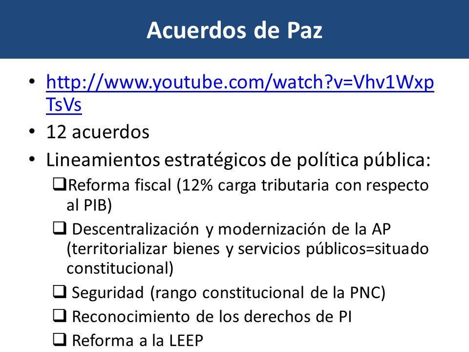 Acuerdos de Paz http://www.youtube.com/watch v=Vhv1WxpTsVs 12 acuerdos