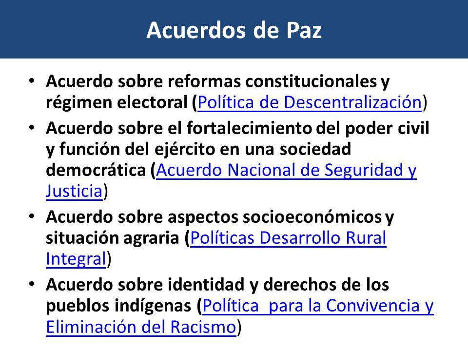 Acuerdos de Paz Acuerdo sobre reformas constitucionales y régimen electoral (Política de Descentralización)