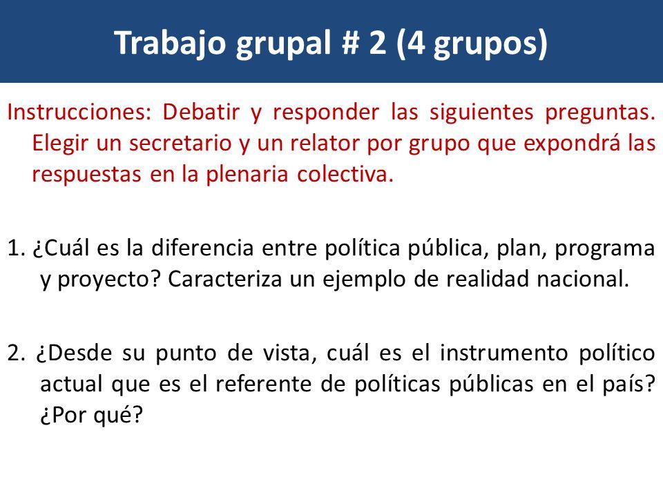 Trabajo grupal # 2 (4 grupos)