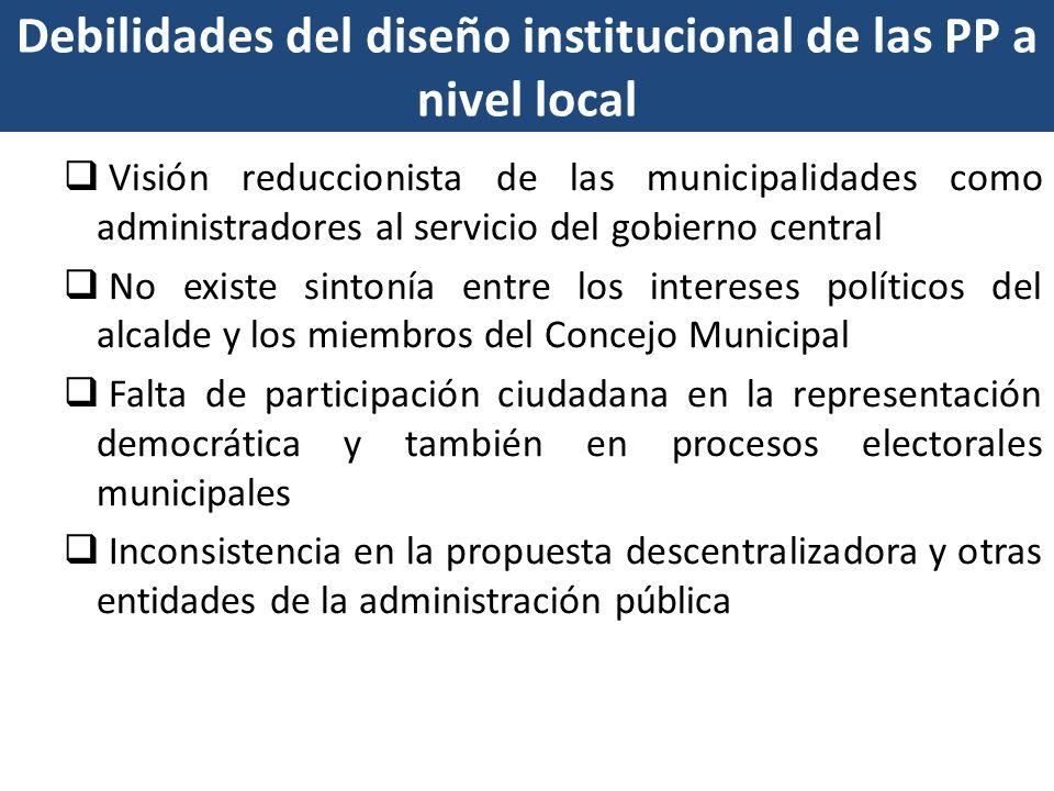 Debilidades del diseño institucional de las PP a nivel local