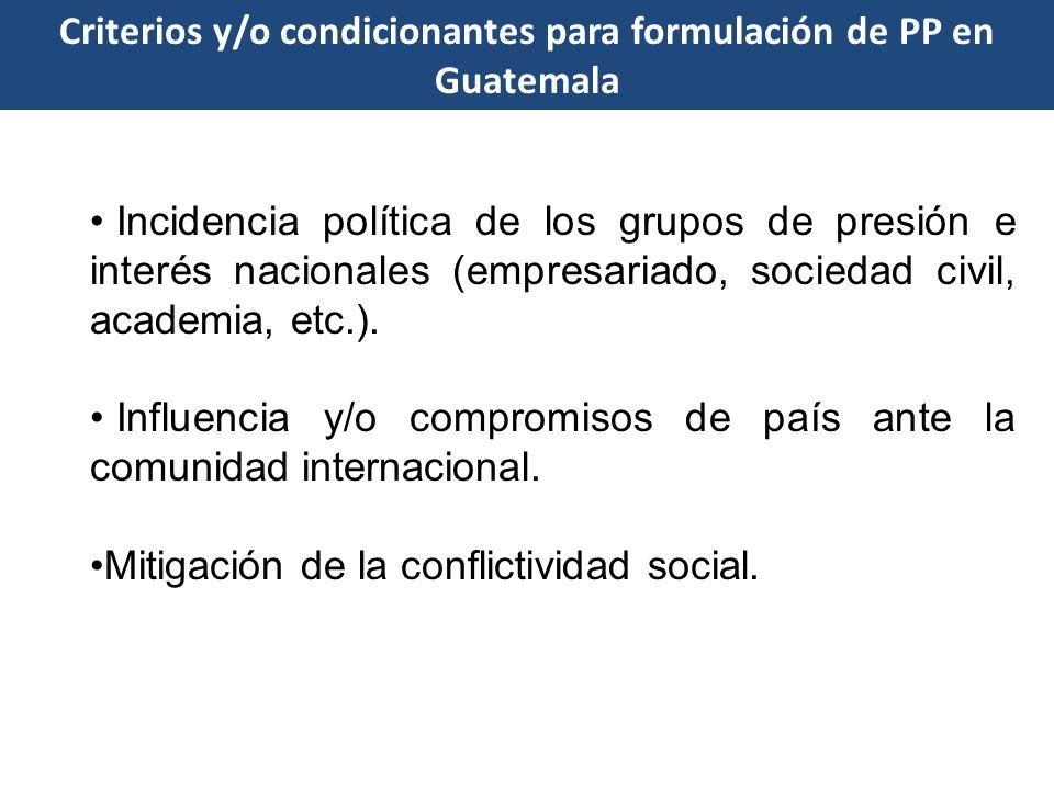 Criterios y/o condicionantes para formulación de PP en Guatemala