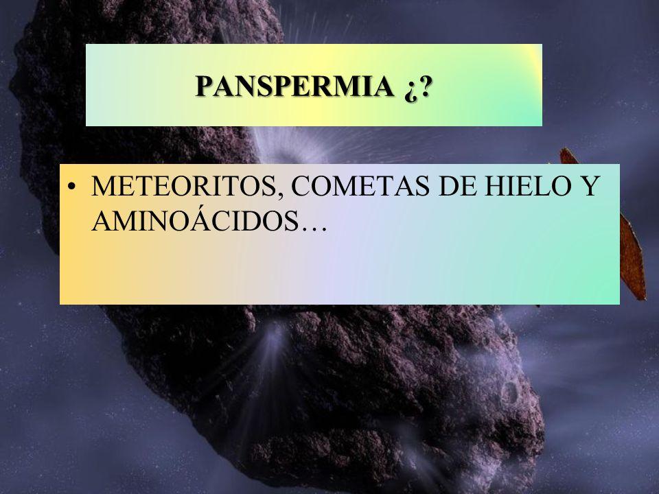 PANSPERMIA ¿ METEORITOS, COMETAS DE HIELO Y AMINOÁCIDOS…