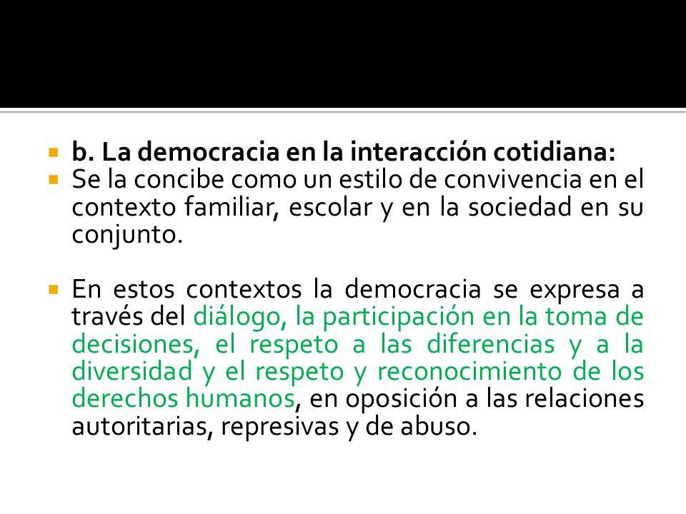 b. La democracia en la interacción cotidiana: