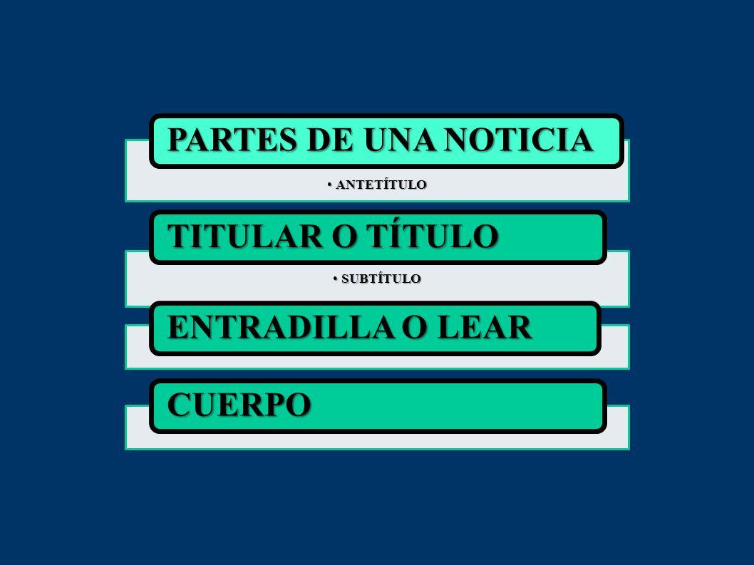 PARTES DE UNA NOTICIA TITULAR O TÍTULO ENTRADILLA O LEAR CUERPO
