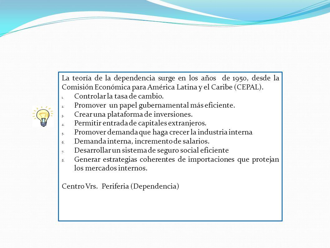 La teoría de la dependencia surge en los años de 1950, desde la Comisión Económica para América Latina y el Caribe (CEPAL).