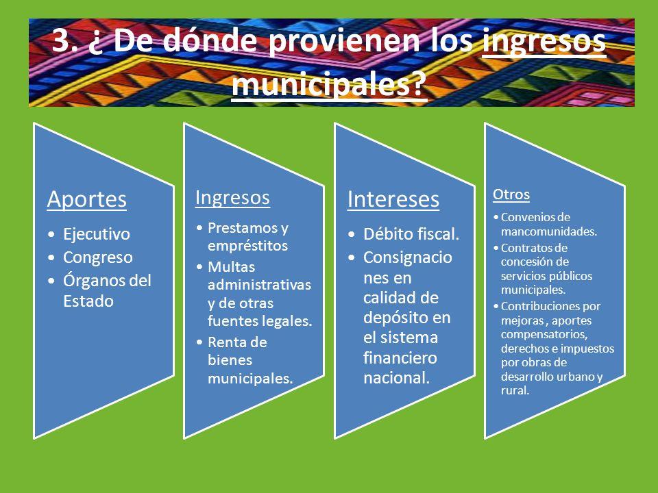 3. ¿ De dónde provienen los ingresos municipales