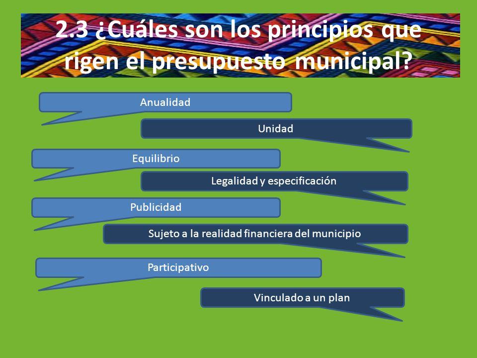 2.3 ¿Cuáles son los principios que rigen el presupuesto municipal