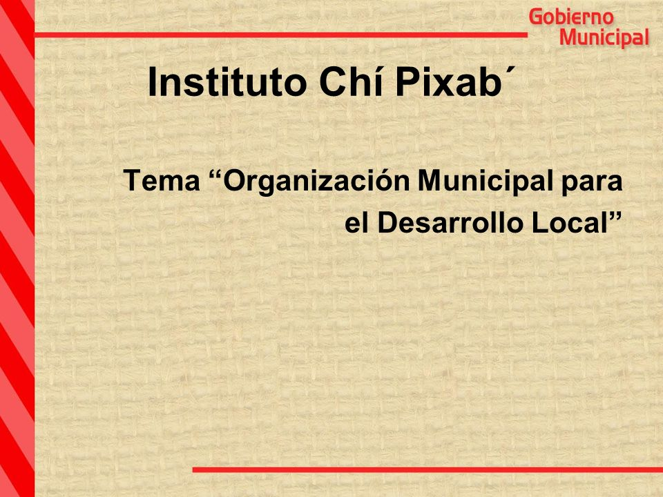 Instituto Chí Pixab´ Tema Organización Municipal para