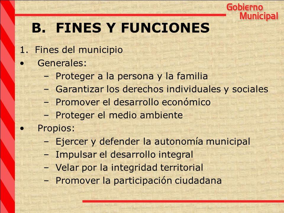 B. FINES Y FUNCIONES 1. Fines del municipio Generales: