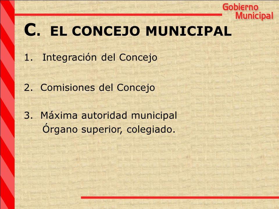 C. EL CONCEJO MUNICIPAL Integración del Concejo