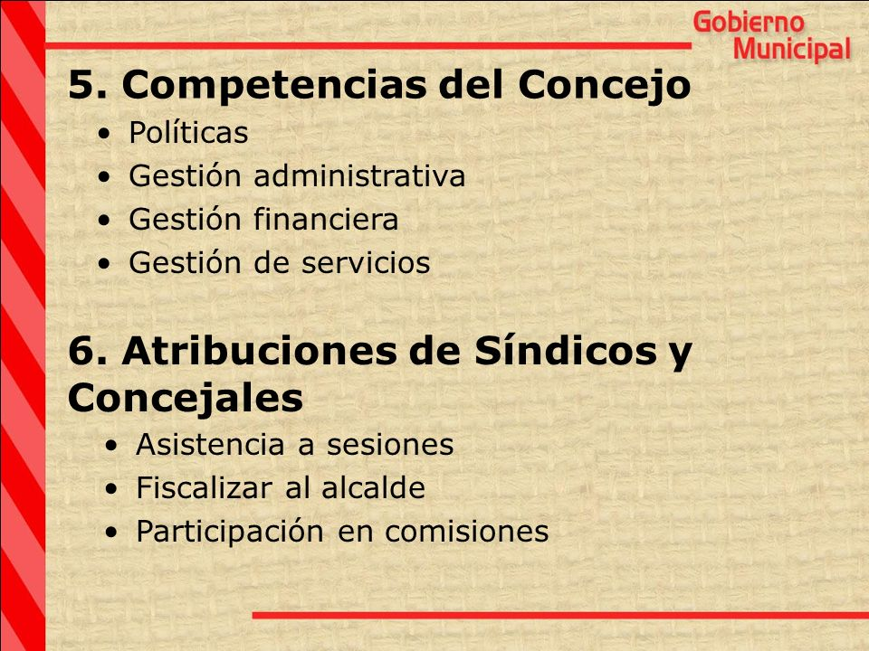5. Competencias del Concejo
