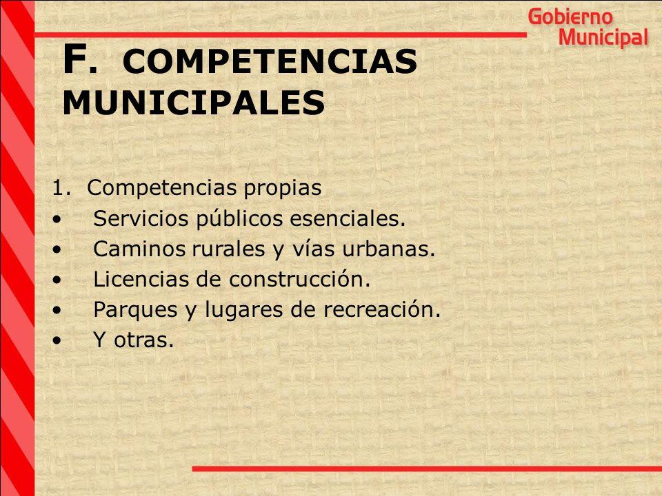 F. COMPETENCIAS MUNICIPALES