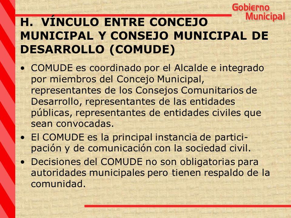 H. VÍNCULO ENTRE CONCEJO MUNICIPAL Y CONSEJO MUNICIPAL DE DESARROLLO (COMUDE)