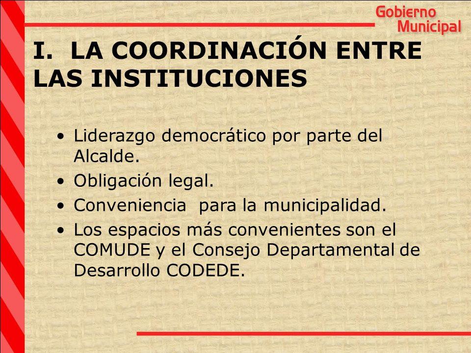I. LA COORDINACIÓN ENTRE LAS INSTITUCIONES