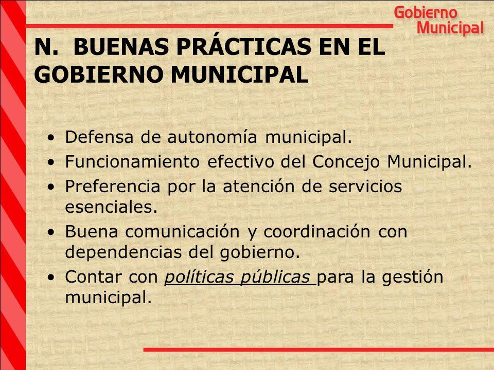 N. BUENAS PRÁCTICAS EN EL GOBIERNO MUNICIPAL