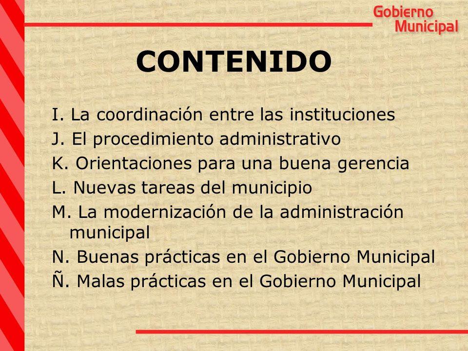 CONTENIDO I. La coordinación entre las instituciones
