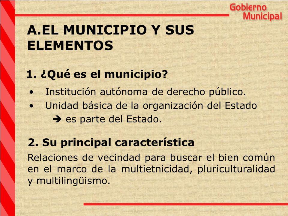 EL MUNICIPIO Y SUS ELEMENTOS 1. ¿Qué es el municipio