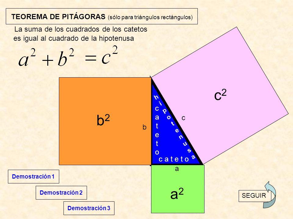 TEOREMA DE PITÁGORAS (sólo para triángulos rectángulos)